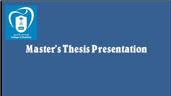 Master's Thesis Presentation